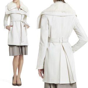 BCBGMaxAzria Victoria Fur-Collar Wool Coat